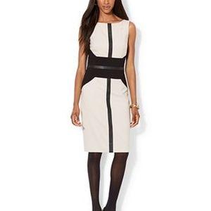 Lauren Faux Leather-Trimmed Color-Block Dress